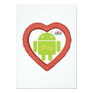 """Corazón de Droid del insecto (amor) torta del rosa Invitación 5"""" X 7"""""""
