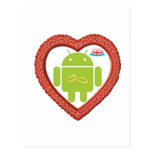 Corazón de Droid del insecto (amor) torta del rosa Postal