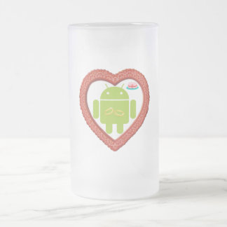 Corazón de Droid del insecto (amor) torta del rosa Taza De Cristal