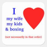 Corazón de encajonamiento de I mi esposa Calcomania Cuadradas Personalizadas