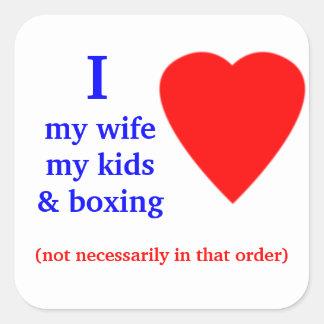 Corazón de encajonamiento de I mi esposa Calcomanía Cuadradas Personalizadas