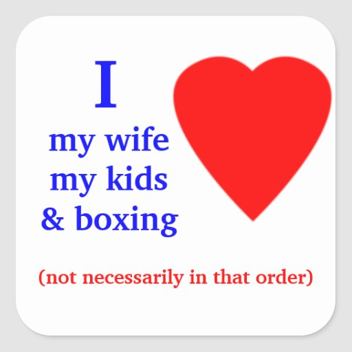 Corazón de encajonamiento de I mi esposa Pegatina Cuadrada
