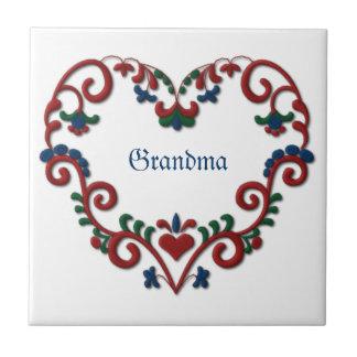 Corazón de encargo personalizado noruego sueco azulejo cuadrado pequeño