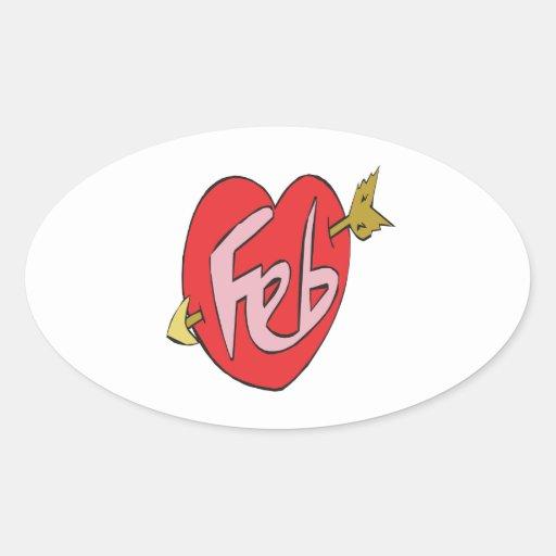 Corazón de febrero calcomanía de óval personalizadas