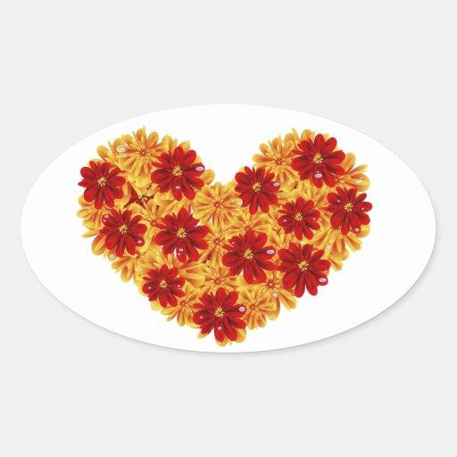 Corazón de flores pegatina ovalada