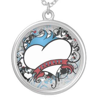 Corazón de Fluer del amor del collar para siempre