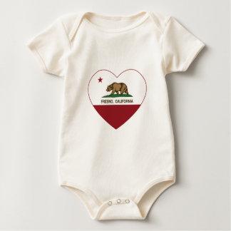 corazón de Fresno de la bandera de California Body Para Bebé