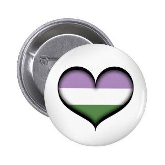 Corazón de Genderqueer Pin Redondo De 2 Pulgadas