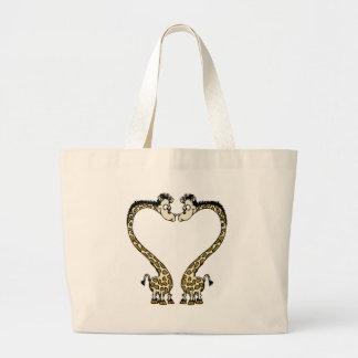 Corazón de Giraffee del el día de San Valentín Bolsas De Mano