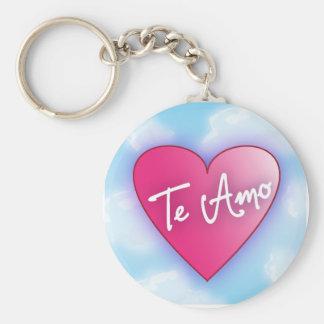 Corazón de Glowy con Te Amo Llavero Redondo Tipo Pin