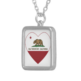 corazón de Half Moon Bay de la bandera de Californ Grimpolas Personalizadas