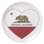 corazón de Hércules de la bandera de California Platos