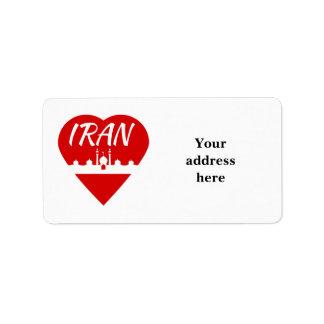 Corazón de Irán Etiquetas De Dirección