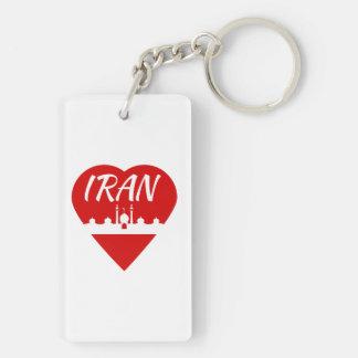 Corazón de Irán Llavero Rectangular Acrílico A Doble Cara