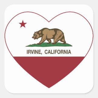 corazón de irvine de la bandera de California Pegatina Cuadrada