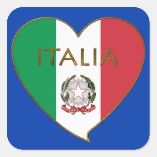 Corazón de ITALIA bandera tricolor ITALY SOUVENIR Pegatina Cuadradas Personalizadas