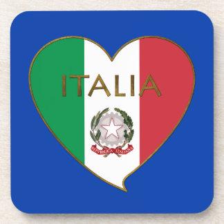 Corazón de ITALIA bandera tricolor ITALY SOUVENIR Posavaso