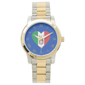 Corazón de ITALIA bandera tricolor ITALY SOUVENIR Relojes De Pulsera