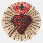 Corazón de Jesús (pequeño) Etiqueta Redonda