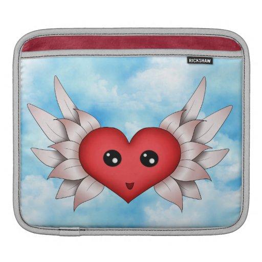 Corazón de Kawaii en las alas de plata Mangas De iPad
