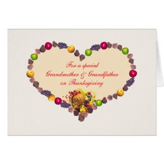 Corazón de la acción de gracias - abuela y abuelo tarjeta de felicitación