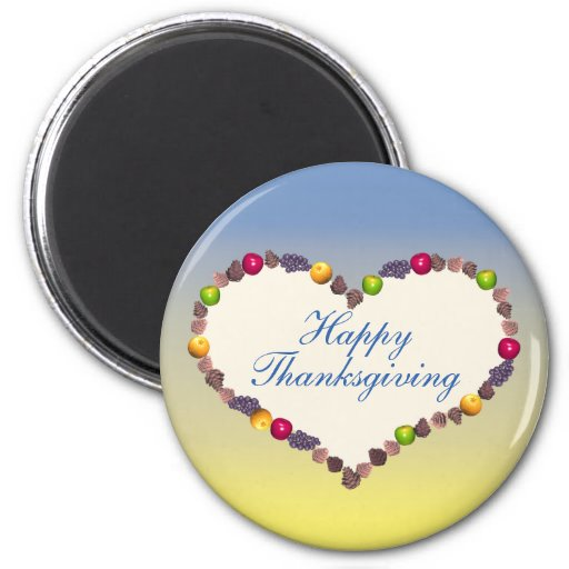 Corazón de la acción de gracias - azul y amarillo imán redondo 5 cm