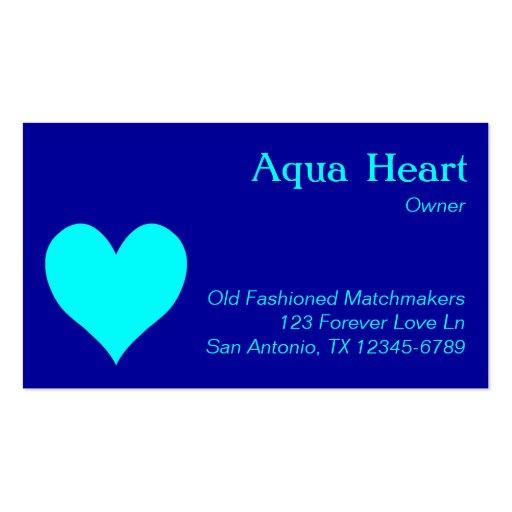 Corazón de la aguamarina tarjeta personal