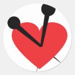 Corazón de la aguja etiquetas redondas