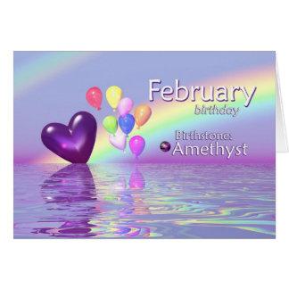 Corazón de la amatista del cumpleaños de febrero tarjeta de felicitación