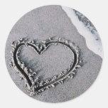 Corazón de la arena etiquetas redondas