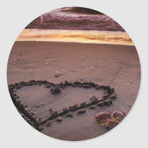 Corazón de la arena pegatinas redondas