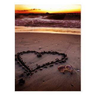 Corazón de la arena tarjetas postales