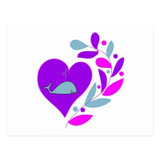 Corazón de la ballena tarjeta postal