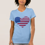 Corazón de la bandera americana camiseta