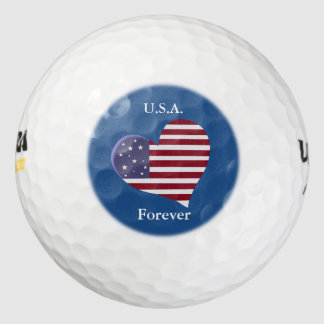 Corazón de la bandera americana con el texto pack de pelotas de golf