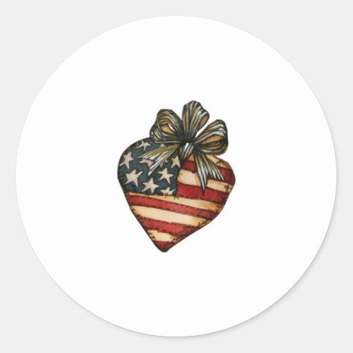 Corazón de la bandera americana etiquetas redondas