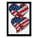 Corazón de la bandera americana felicitaciones