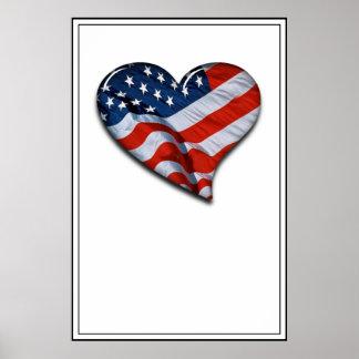Corazón de la bandera americana poster