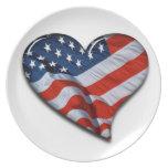 Corazón de la bandera americana plato de cena