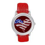 Corazón de la bandera americana - reloj