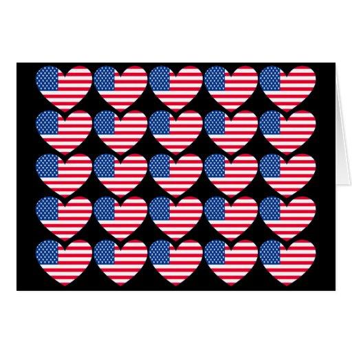 Corazón de la bandera americana tarjeta de felicitación