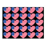 Corazón de la bandera americana tarjetas postales