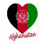Corazón de la bandera de Afganistán Tarjeta Postal