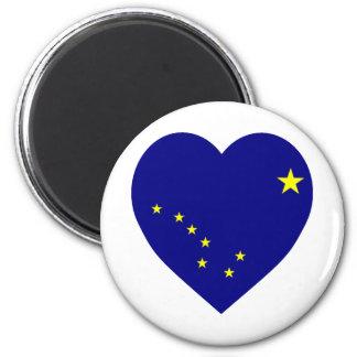 Corazón de la bandera de Alaska Imán Redondo 5 Cm