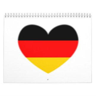 Corazón de la bandera de Alemania Calendario