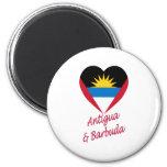 Corazón de la bandera de Antigua y de Barbuda Imán Para Frigorífico
