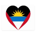 Corazón de la bandera de Antigua y de Barbuda Postal