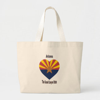 Corazón de la bandera de Arizona Bolsa Tela Grande