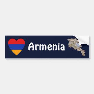 Corazón de la bandera de Armenia + Pegatina para e Etiqueta De Parachoque
