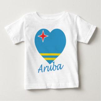 Corazón de la bandera de Aruba Poleras